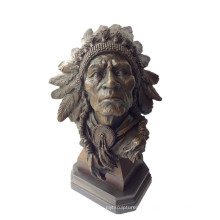 Bust Bronze Sculpture Indian Chiefs Metal Crafts Brass Statue Tpy-922